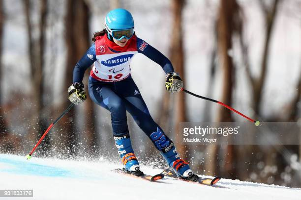Menna Fitzpatrick fo Great Britian competes in the Women's Visually Impaired Giant Slalom at Jeongseon Alpine Centre on Day 5 of the PyeongChang 2018...