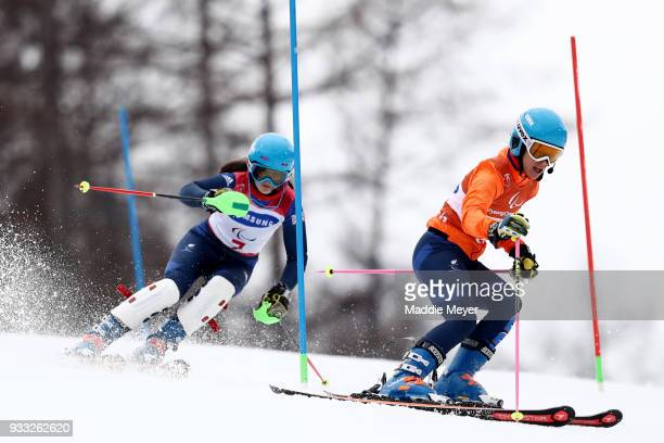 Menna Fitzpatrick of Great Britain and her guide Jennifer Kehoe compete in the Women's Visually Impaired Slalom at Jeongseon Alpine Centre on Day 9...