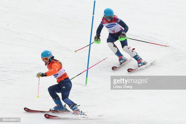 Menna Fitzpatrick of Great Britain and her guide Jennifer Kehoe competes in the Women's Slalom Visually Impaired on day nine of the PyeongChang 2018...