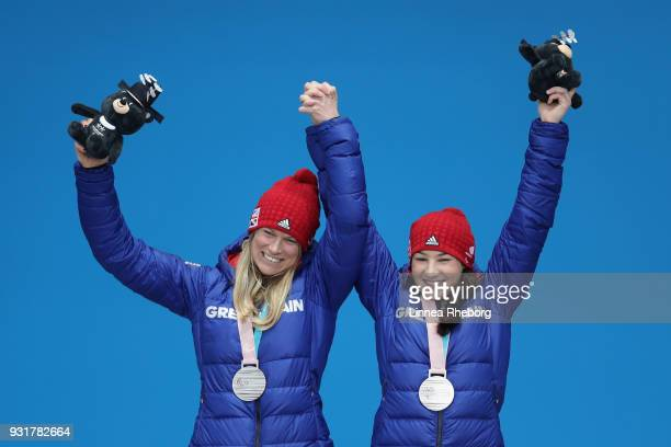 Menna Fitzpatrick of Great Britain and her guide Jennifer Kehoe celebrates during the medal ceremony for Women's Giant Slalom during day five of the...