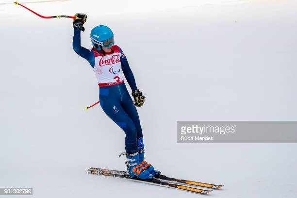 Menna Fitzpatrick of Great Britain celebrates after competing in the Women's Super Combined Visually Impaired Alpine Skiing event at Jeongseon Alpine...