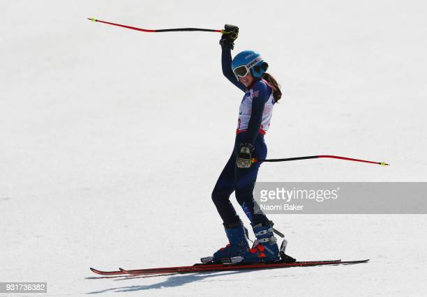 Menna Fitzpatrick of Great Britain celebrates after she wins the silver medal with her guide Jennifer Kehoe of Great Britain during the Women's Giant...