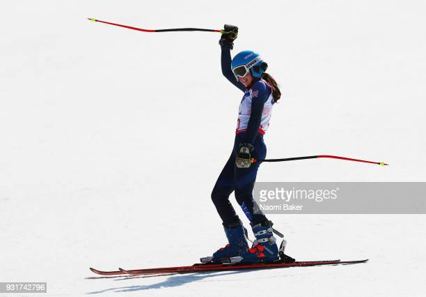 Menna Fitzpatrick of Great Britain celebrates winning the Silver medal in the Women's Giant Slalom Visually Impaired on day five of the PyeongChang...
