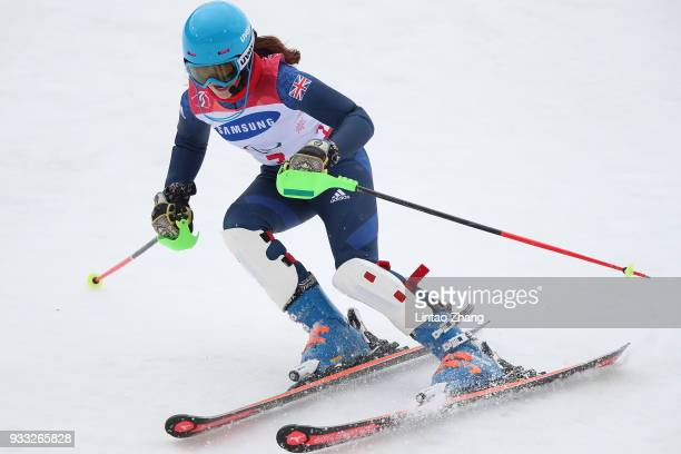 Menna Fitzpatrick of Great Britain compete in the Women's Visually Impaired Slalom at Jeongseon Alpine Centre on Day 9 of the PyeongChang 2018...