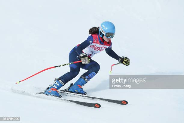 Menna Fitzpatrick of Great Britain competes in the Alpine Skiing Women's SuperG Visually Impaired at the Jeongseon Alpine Centre during day four of...