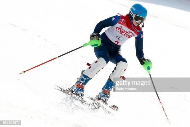 Menna Fitzpatrick of Great Britain competes in the Women's Super Combined Visually Impaired Alpine Skiing event at Jeongseon Alpine Centre during day...