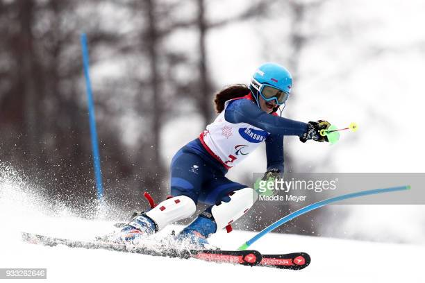 Menna Fitzpatrick of Great Britain competes in the Women's Visually Impaired Slalom at Jeongseon Alpine Centre on Day 9 of the PyeongChang 2018...