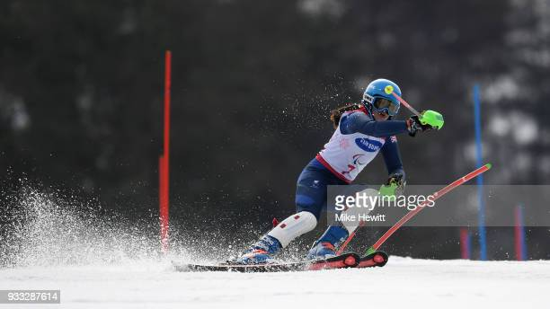 Menna Fitzpatrick of Great Britain on her way to the Gold medal in the Women's Slalom Visually Impaired on day nine of the PyeongChang 2018...