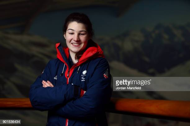 Menna Fitzpatrick poses for a photo during the ParalympicsGB team announcement for PyeongChang 2018 Alpine Skiing and Snowboard Team at The Snow...