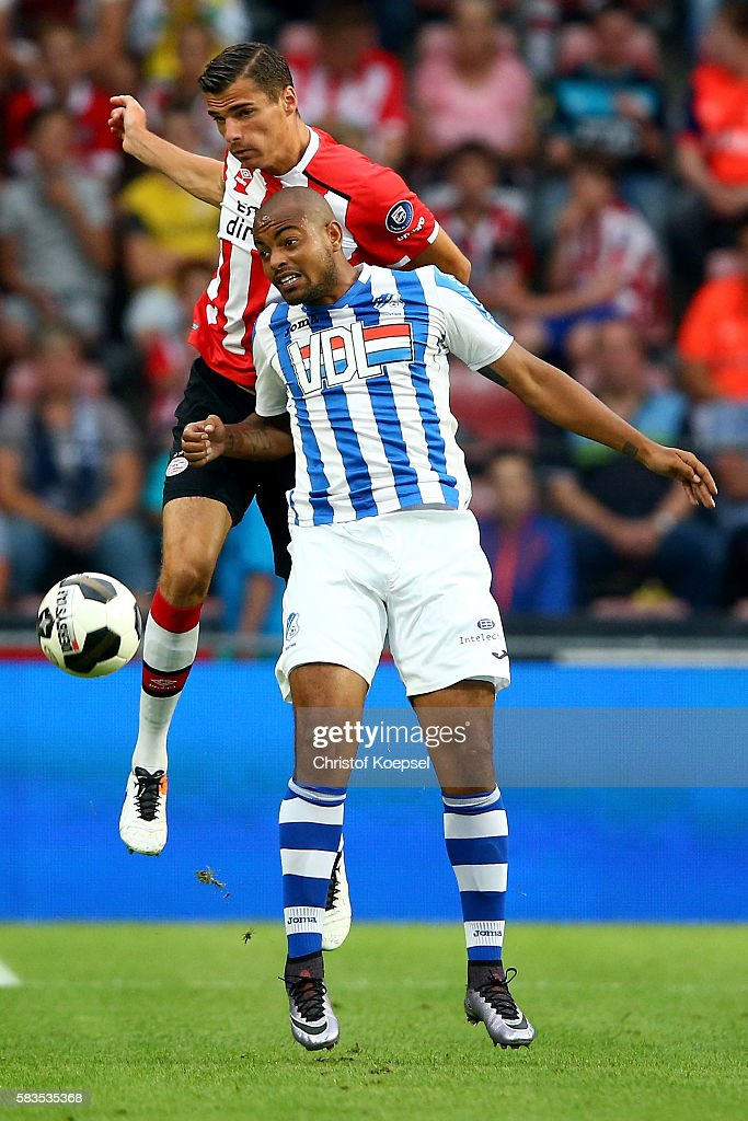 Menno Koch of Eindhoven and Tibeau Swinnen of FC Eindhoven go up for a header during the friendly match between FC Eindhoven and PSV Eindhoven at Philips Stadium on July 26, 2016 in Eindhoven, Netherlands.