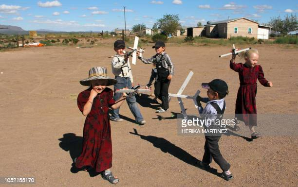 TOPSHOT Mennonite children play at the Sabinal community in Ascencion municipality Chihuahua State Mexico on September 22 2018 Isolated from...