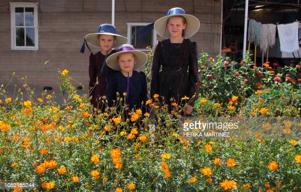TOPSHOT Mennonite girls pose at the Sabinal community in Ascencion municipality Chihuahua State Mexico on September 22 2018 Isolated from tecnology...