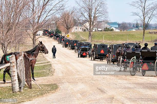 Mennonites Exiting in Buggies