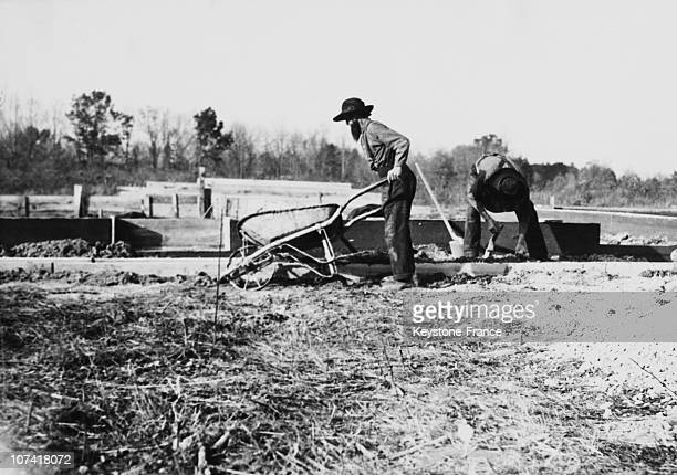 Mennonites On A Building Yard In Usa On 1939