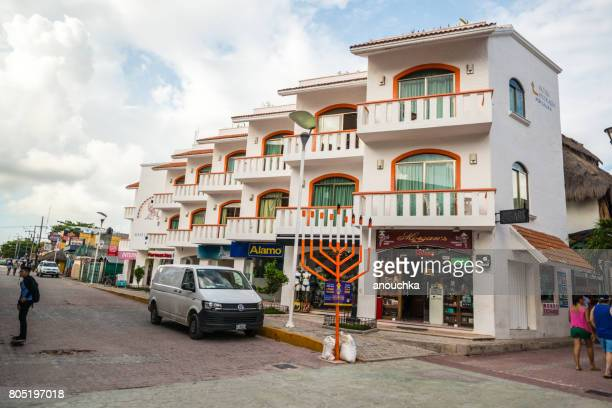 menorah on 5th avenue, shopping street on playa del carmen, mexico - quintana roo stock photos and pictures
