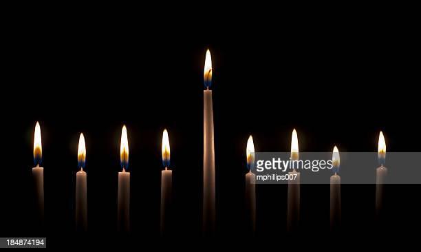 menorah - hanukkah stockfoto's en -beelden