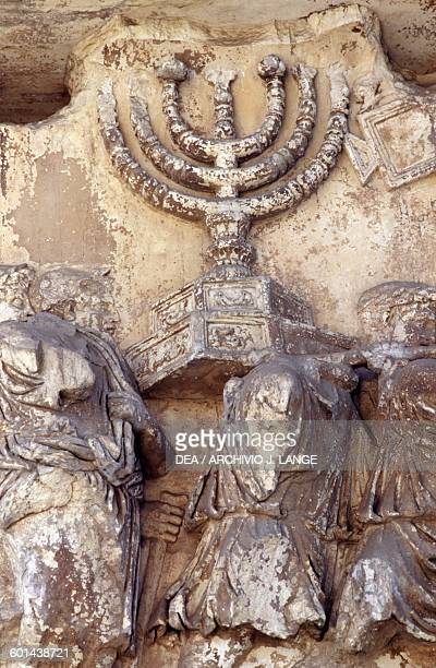 Menorah Trophies from Jerusalem relief from the Arch of Titus Imperial Forums Rome Italy Roman civilisation 1st century AD