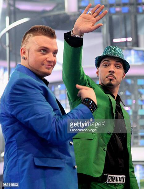 Menowin Froehlich and Mehrzad Marashi pose during the contest 'DSDS Deutschland Sucht Den Superstar' final show on April 17 2010 in Cologne Germany