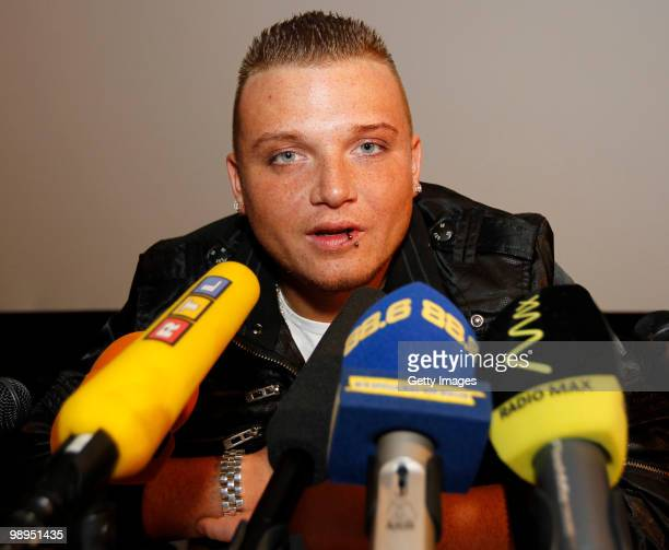 Menowin Froehlich attends a press conference during a visit at Lugner City on May 10 2010 in Vienna Austria