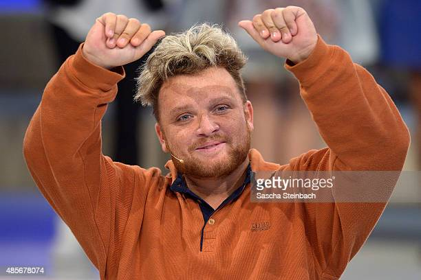 Menowin Froehlich attends the final show of Promi Big Brother 2015 at MMC studios on August 28 2015 in Cologne Germany