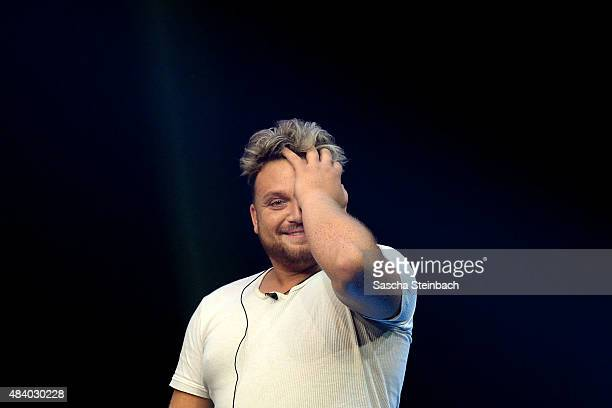 Menowin Froehlich attends the first live show of Promi Big Brother 2015 at MMC studios on August 14 2015 in Cologne Germany