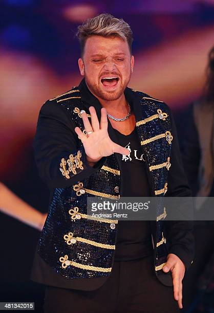 Menowin Froehlich performs at the rehearsal for the 1st 'Deutschland sucht den Superstar' show at Coloneum on March 29 2014 in Cologne Germany