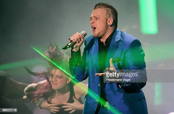 Menowin Froehlich performs during the contest 'DSDS Deutschland Sucht Den Superstar' final show on April 17 2010 in Cologne Germany