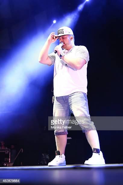 Menowin Froehlich performs live on stage during the 'DSDS Deutschland sucht den Superstar' concert at Wiener Stadthalle on July 27 2014 in Vienna...