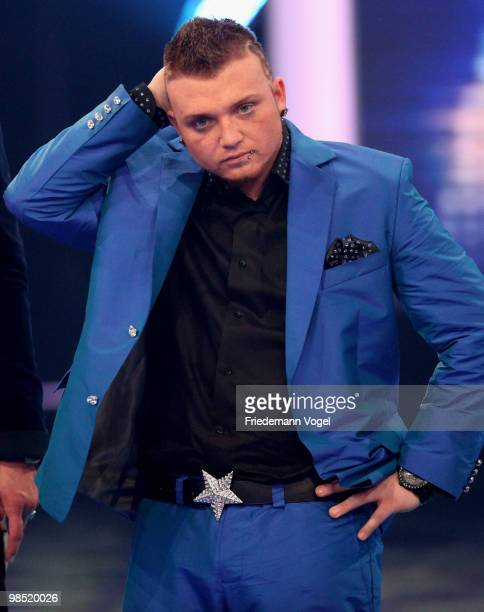 Menowin Froehlich poses during the contest 'DSDS Deutschland Sucht Den Superstar' final show on April 17 2010 in Cologne Germany