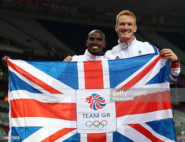 Men's 10000m gold medalist Mohamed Farah of Great Britain and Men's Long Jump gold medalist Greg Rutherford celebrate on Day 8 of the London 2012...