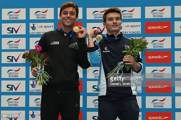 Mens 10m Syncro winners Thomas Delaney and Daniel Goodfellow pose for a photograph with their medale during day one of the British Diving...
