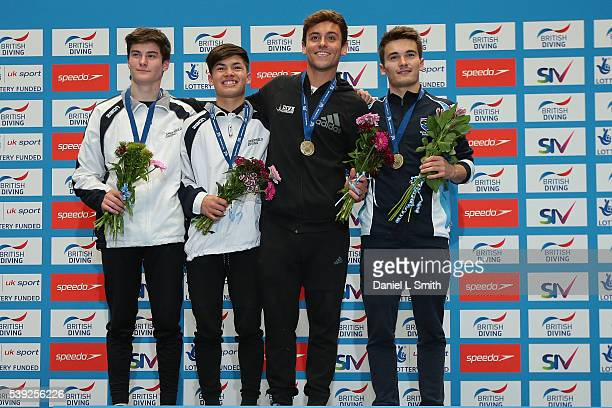 Mens 10m Syncro winners Thomas Delaney and Daniel Goodfellow stand on the podium with second place getters Elliot Beeden and Conrad Lewandowski...