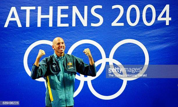 Men's 1500m Freestyle gold medallist Australia's Grant Hackett during the medal presentation 21 August 2004 SMH Picture by IAIN GILLESPIE