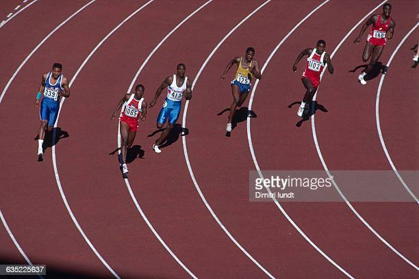 Men's 200-meter final of the Olympic Games. : Bruno Marie-Rose , Joe Deloach , Linford Christie , Robson da Silva , Carl Lewis and Anthony Mahorn .