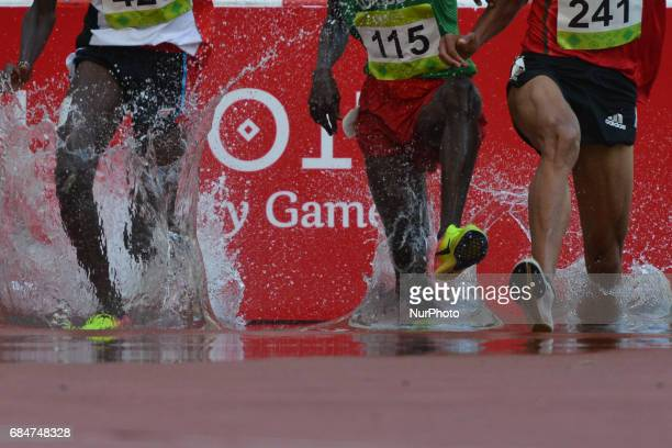 Men's 3000m Steeplechase final during an athletic event at Baku 2017 4th Islamic Solidarity Games at Baku Olympic Stadium On Thursday May 18 2017 in...