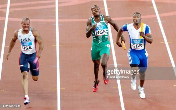 Mens 4-100 relay Jason Gardener, Darren Campbell, Marlon Devenish and last leg Mark Lewis-Francis WIN GOLD.