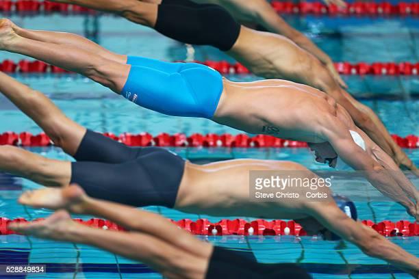 Men's 50m freestyle heats James Maggnussen at the starts in his heat at the Brisbane Aquatic Centre Brisbane Australia Saturday 5th April 2014