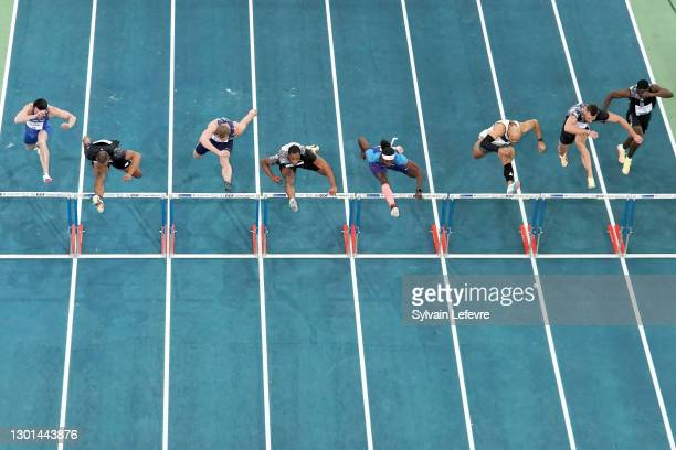 Men's 60m hurdles during the World Athletics Indoor Tour at Arena Stade Couvert on February 9, 2021 in Lievin, France.