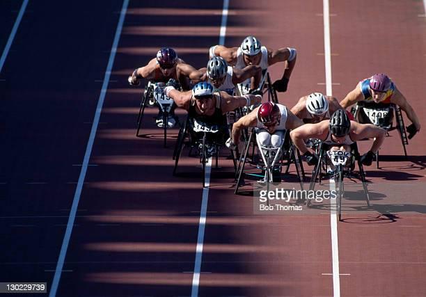 Men's 800 metre wheelchair race during the World Athletics Championship in Gothenburg Sweden circa August 1995