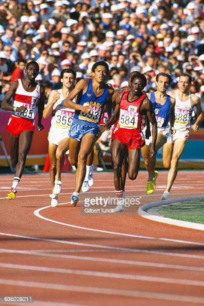 Men's 800meter final of the 1984 Summer Olympics Billy Konchellah Sebastian Coe Joaquim Cruz Edwin Koech Donato Sabia and Steve Ovett