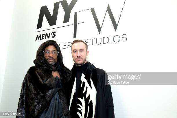 'NYFW Men's Ambassador' Billy Porter and Adam Smith attend 'Lukhanyo Mdingi' Presentation at Pier 59 Studios on February 06 2019 in New York City