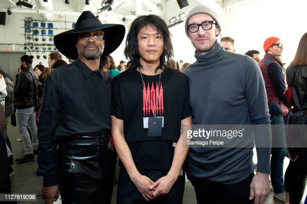 Men's Ambassador Billy Porter Hyoung Kee Kim and Adam Smith attend 'KEENKEE' show at Pier 59 Studios on February 05 2019 in New York City