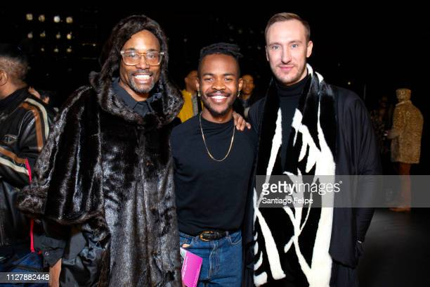 'NYFW Men's Ambassador' Billy Porter Lukhanyo Mdingi and Adam Smith attend 'Lukhanyo Mdingi' Presentation at Pier 59 Studios on February 06 2019 in...
