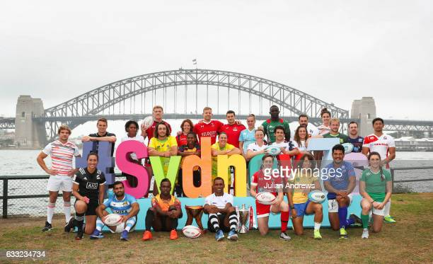 Men's and women's Captains from the Sydney Sevens tournament pose for a group shot with the background Of Sydney Harbour Bridge and Opera House...