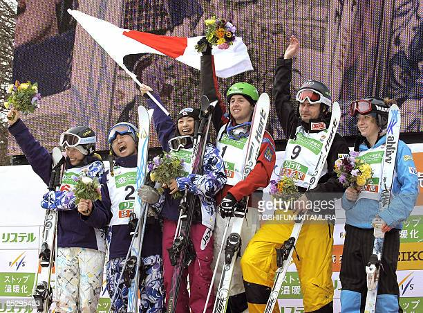 Men's and women's dual mogul winners second placers Miki Ito and Nobuyuki Nishi of Japan winners Aiko Uemura of Japan and Alexandre Bilodeau of...
