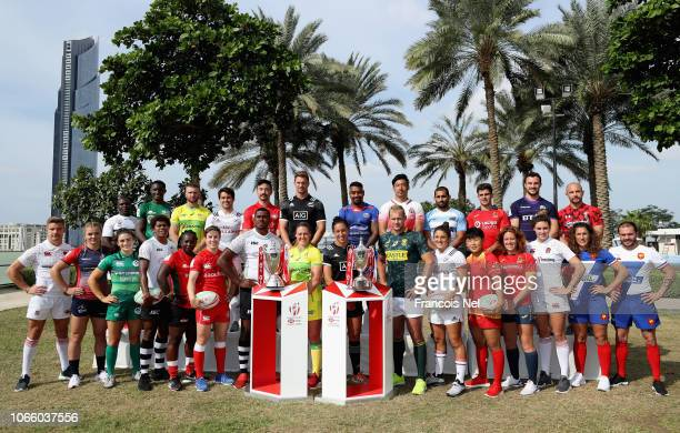 Men's and women's team captains pose for photos with the HSBC World Rugby Sevens Series and the HSBC World Rugby Women's Sevens Series Trophies...