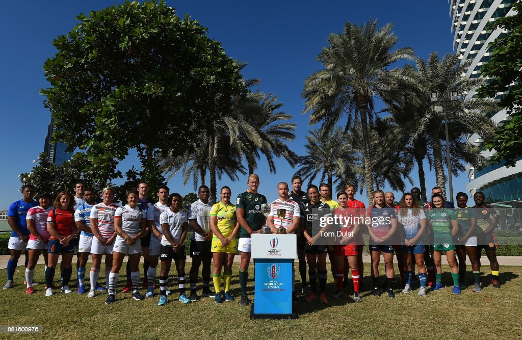 Men's and women's team captains pose for photos with the Rugby World Cup Sevens Trophies during the Emirates Dubai Rugby Sevens: HSBC Sevens World Series photocall on November 29, 2017 in Dubai, United Arab Emirates.