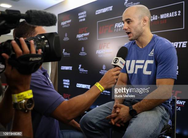 UFC men's bantamweight contender Marlon Moraes of Brazil interacts with media during UFC Fight Night Assuncao v Moraes 2 ultimate media day at Gran...
