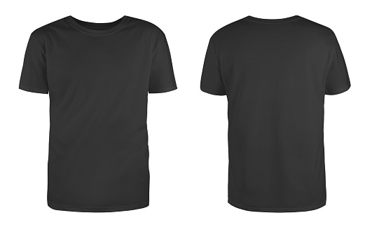 Men's black blank T-shirt template,from two sides, natural shape on invisible mannequin, for your design mockup for print, isolated on white background. 1151955707