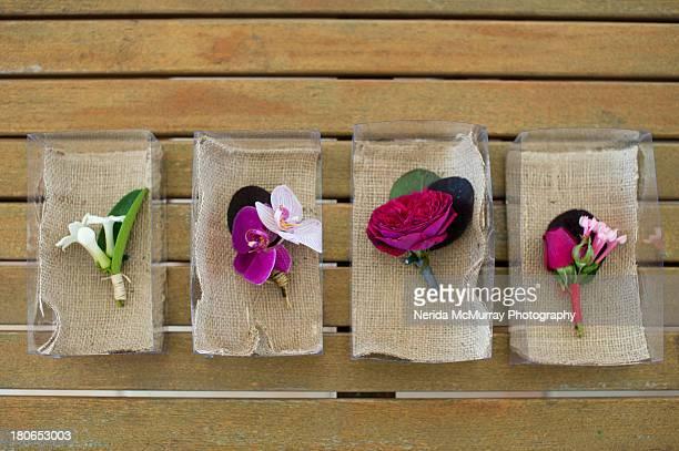 Men's buttonholes for wedding outfit